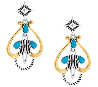 Sterling/Brass Turquoise Drop Earrings by American West - J320509