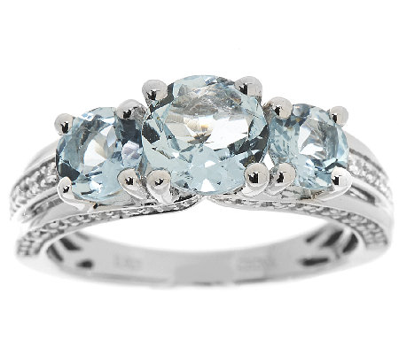 Three Stone Aquamarine & Zircon Sterl. Ring, 1.95 cttw