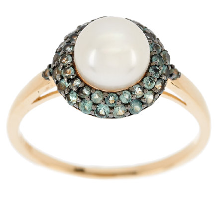 """As Is"" 0.50 ct tw Alexandrite & White Cultured Pearl Ring, 14K"