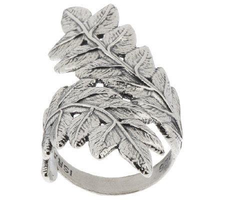 Sterling Silver Leaf Design Bypass Ring by Or Paz
