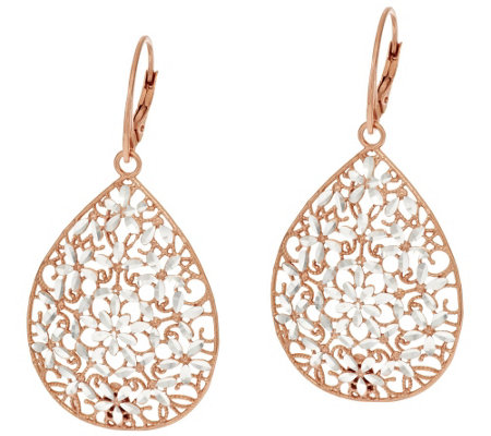 """As Is"" VicenzaSilver Small Diamond Cut Pear Shaped Dangle Earrings"