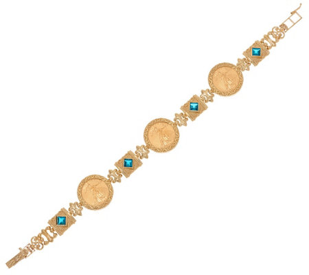 "14K/22K Gold 8"" Solid Liberty Coin Bracelet with Gemstones 24.6g"