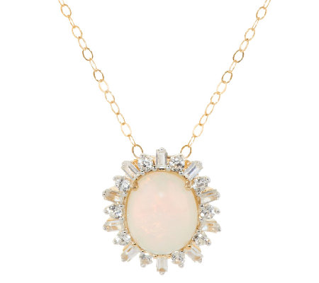 """As Is"" Ethiopian Opal & White Zircon Pendant, 14K 2.75 ct tw"