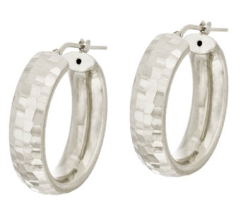 """As Is"" VicenzaSilver Sterling 1-1/8"" Diamond Cut Hoop Earrings - J325509"