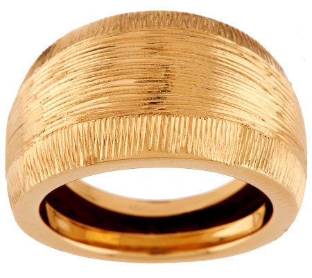 """As Is"" EternaGold Bold Domed Diamond Cut Ring, 14K"