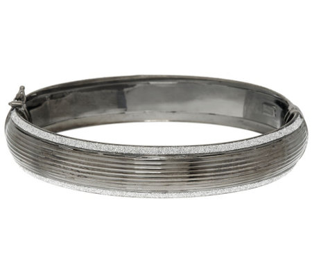 """As Is"" Italian Sterling Large Pave' Glitter Ribbed Bangle Bracelet"
