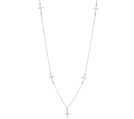 Vicenza Silver Sterling Cross Station Necklace