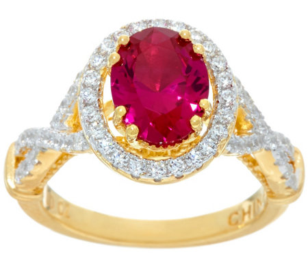 Diamonique & Simulated Ruby Ring, Sterling or 14K Clad