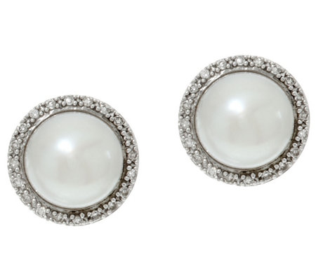 Honora Cultured Pearl 7.0mm & 1/10 cttw Diamond Stud Earrings