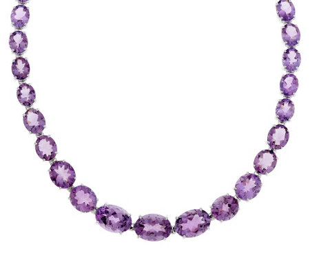 """As Is"" 65.00 ct tw Oval Amethyst 18"" Sterling Tennis Necklace"