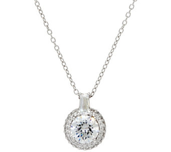 Diamonique Pave' Halo Pendant w/ Chain, Sterling or 14K Clad - J330109