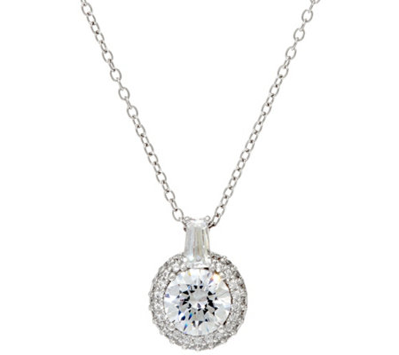Diamonique Pave' Halo Pendant w/ Chain, Sterling or 14K Clad