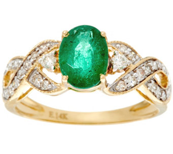 oval zambian emerald u0026 diamond solitaire ring 14k 090 ct j330209
