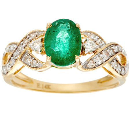 Oval Zambian Emerald & Diamond Solitaire Ring 14K, 0.90 ct