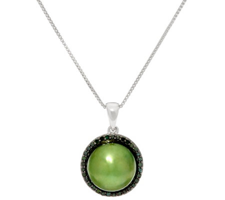 Honora Cultured Pearl 10.0mm & 1/5 cttw Diamond Pendant