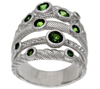 """As Is"" Judith Ripka Sterling Silver Multi Row 1.00 cttw Gemstone Ring - J332109"