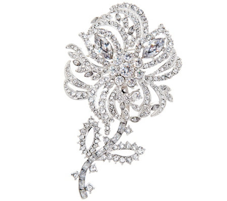 Joan Rivers Pave' Crystal Flower Brooch with Removable Stem