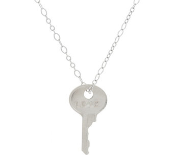 "The Giving Keys Silvertone 'LOVE' Key Pendant with 18"" Cable Chain - J333809"