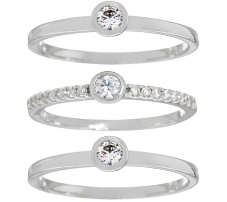 Diamonique Set of Three Round Stack Rings, Sterling or 14K Clad