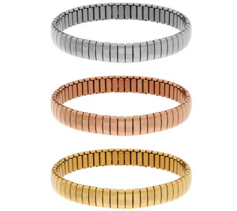 Stainless Steel Set of 3 Polished Stretch Bracelets - J335409
