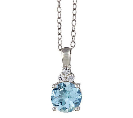 Premier Round Aquamarine and 1/10cttw Diamond Pendant, 14K