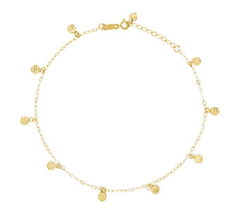"10"" Diamond-Cut Circle Station Ankle Bracelet,14K Gold - J336409"