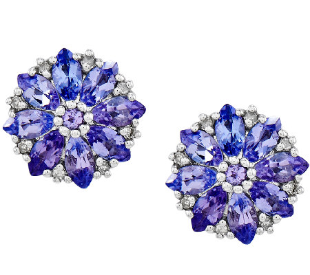 Sterling 1.10 cttw Tanzanite Flower Stud Earrings