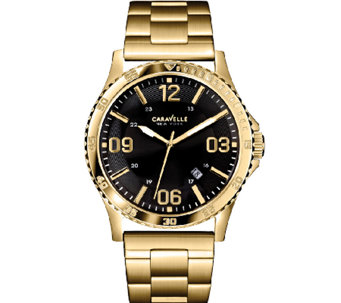 Caravelle New York Men's Black & Goldtone Stainless Watch - J336809