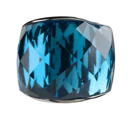 Stainless Steel Bold Faceted Glass Ring