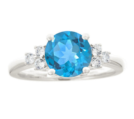 Premier 1.85cttw Round Blue Topaz & Diamond Ring, 14K