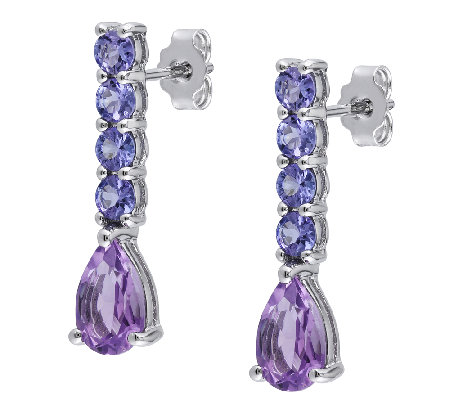 2.60cttw Tanzanite & Amethyst Stick Earrings, Sterling