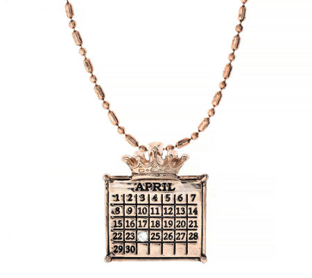 Personalized Rosetone Calendar Crown Charm Neck lace