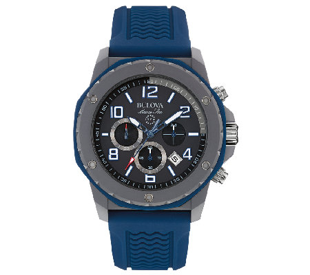 Bulova Men's Black Dial & Blue Strap Sport Watch