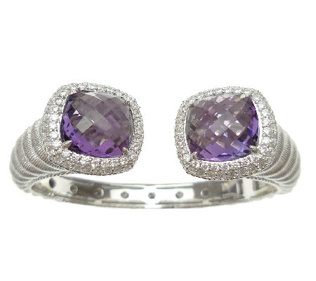 Judith Ripka Sterling Amethyst & Diamonique Hinged Cuff