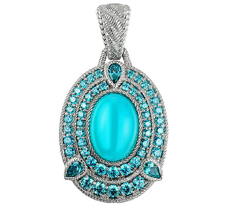 Judith Ripka Sterling Blue Chalcedony & Diamoni que Enhancer
