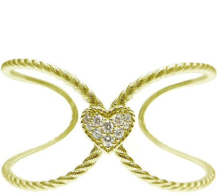Judith Ripka Sterling & 14K Clad Diamonique Heart Open Cuff