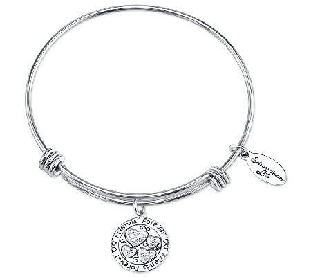 Sterling Friends Crystal Charm Bangle by Extraordinary Life