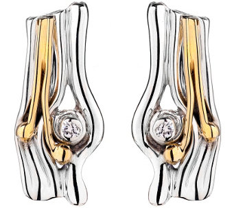 Hagit Sterling and 14K Gold Diamond Accent Earrings - J342509