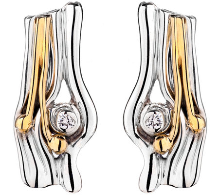 Hagit Sterling and 14K Gold Diamond Accent Earrings