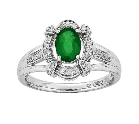 14K White Gold Diamond & Precious-Gemstone HaloRing