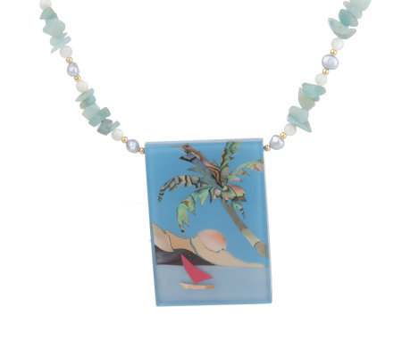 Lee Sands Tropical Scene Inlay Necklace