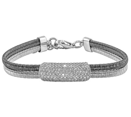 "Sterling & Ruthenium-plated Crystal 6-3/4"" Bracelet"