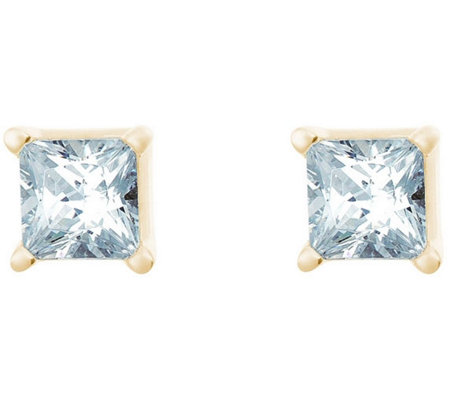 Princess Cut Diamond Studs, 14K Yellow, 1/2cttw, by Affinity