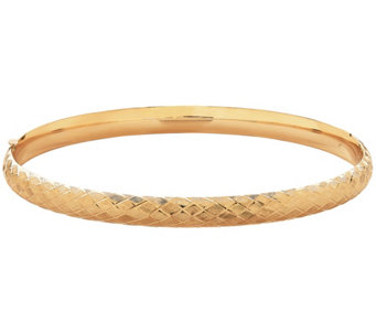 "EternaGold 8"" Cross Stitch Bangle Bracelet, 14KGold, 7.7g - J345509"