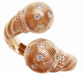 Judith Ripka 14K Rose Gold-Clad Burnished Bypass Ring - J345809