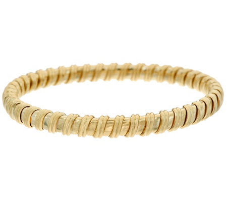 14K Gold Polished Ribbed Flexible Bangle