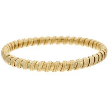 14K Gold Polished Ribbed Flexible Bangle