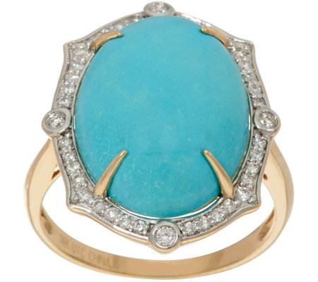 Sleeping Beauty Turquoise & 1/4 cttw Diamond Ring 14K Gold