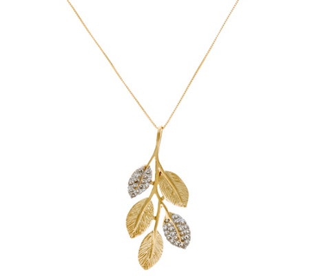 Adi Paz 1/5 cttw Diamond & 14K Gold Leaf Pendant with Chain