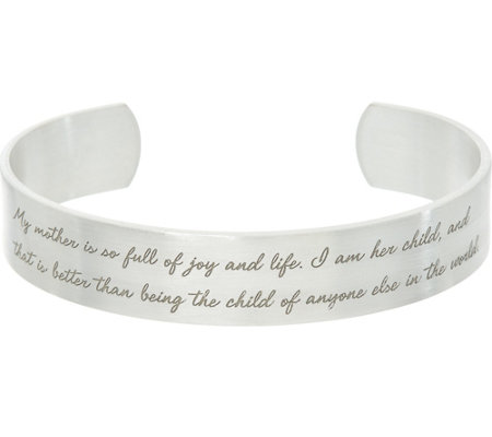 "Maya Angelou ""My Mother"" Silvertone Cuff Bracelet by Dogeared"
